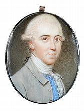 John Smart (British, 1742/3-1811) - A portrait miniature of a Gentleman, wearing a pale grey coat, blue waistcoat with trim and tied w.