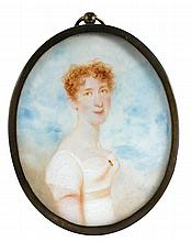 Circle of Richard Cosway, RA (British, 1742-1821) A portrait miniature of a Lady in white dress with frilled collar and blue ribbon...