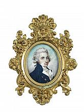 French School (18th century) A portrait miniature of George, Comte de Stacpoole (1736-1824), wearing a dark blue coat with gold butt...