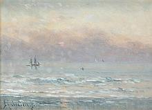 Georgina M de L'Aubiniere (British, 1860-1920) Sunset with Sailing Ships, signed lower left