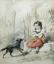 Frederick Davis (British, 1862-1919) A small child playing with her dolls and her small black and tan dog