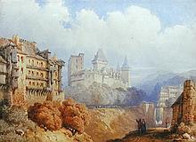 James Baker Pyne (British, 1800-1870) On the Rhine signed lower left
