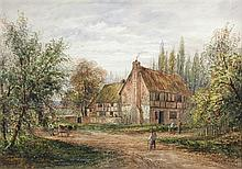 E Lewis (British, 19th century) Farmhouse with Villagers on a Track signed lower right