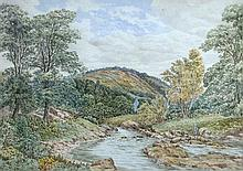 Samuel Henry Baker (British, 1824-1909) Salmon River in the Highlands signed lower right
