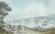 English School (late 18th century) A View of Greenwich Hospital from the Isle of Dogs with the Royal Observatory beyond the paper be...