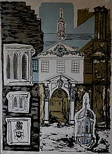 Margaret Souttar (British, 1914) Cambridge Capriccio with central image of the Trinity Hall coat of arms signed lower right
