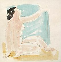 § Vanessa Bell (British, 1879-1961) - Nude with raised arm - watercolour