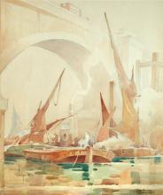 § George Ayling (British, 1887-1960) Boats passing under Waterloo Bridge, London signed lower right