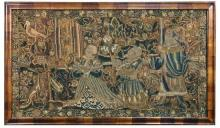 A late 16th or early 17th century English tent stitch embroidered panel,