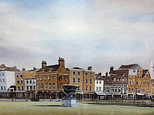 § Peter Knuttel (British, b.1945) King's Parade, View from the Senate House, Cambridge inscribed with title and signed lower right