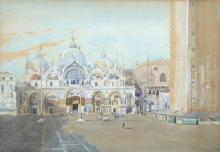 Frederick Townsend (British, fl. 1861-1866) -  San Marco, Venice signed and inscried on an artist's label verso
