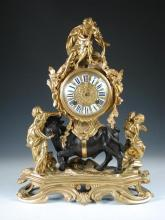 A French 18th/19th century ormolu and bronze mantel clock modelled as Europa and the Bull,