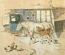 Fred Hall (British, 1860-1948) - A grey mare with chestnut foal- signed lower right