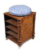 A Victorian patent walnut piano stool,