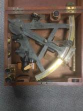 A 'George Lee and Son, Portsmouth' labelled mahogany cased sextant,