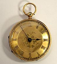 An 18ct gold open face fob watch,