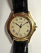 Cartier - an 18ct gold gentleman's 'Panthere' quartz wristwatch,