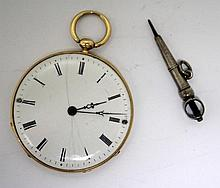 A Swiss yellow metal cased slimline fob watch,