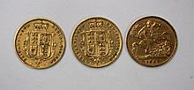 Two Victorian gold half sovereigns, 1874 & 1877,