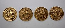 A Victorian gold sovereign, 1889, Two Edward VII gold sovereigns 1904 &1910 and Elizabeth II sovereign 1968 (4)