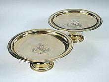 A pair of Victorian silver gilt tazze,