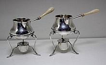 A pair of Victorian silver miniature brandy warmers,