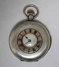 A Swiss silver cased quarter repeating half-hunter cased pocket watch,