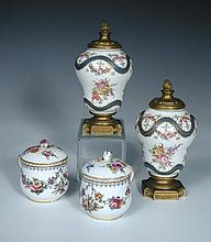 Two pairs of 19th century 'Sevres' vases,