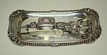 A George IV silver wick trimmer and matching tray,