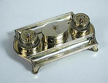 A George IV silver gilt inkstand,