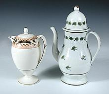An early 19th century Wedgwood creamware coffee pot and cover together with another in pearlware,