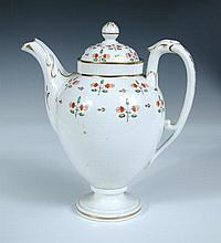 An early 19th century Pinxton style coffee pot and cover,