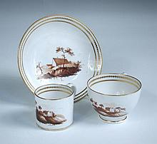 Attributed to Chamberlain's Worcester, a miniature trio of tea cup, coffee can and saucer,