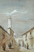 David Roberts, RA (British, 1796-1864) - A street scene in Brescia, Lombardy - signed lower left with initials