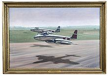Roy Layzell (British, 20th Century), Gloster Meteor 8 jet from 601 squadron, signed and dated 1960 oil on canvas (49cm high x 74cm wide