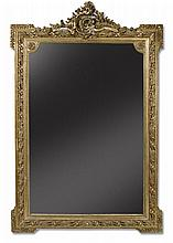A French giltwood & gesso framed overmantle mirror, 19th century
