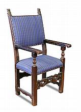 A 17th century style Continental walnut chair,
