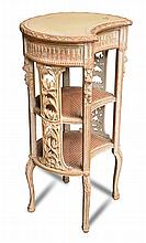 A French painted and carved wood etagere, 20th century