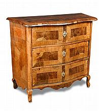 An 18th century Maltese walnut serpentine front commode,