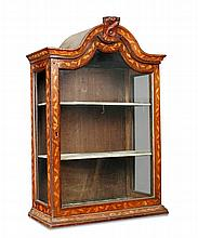 An 18th century Dutch oak marquetry inlaid display cabinet,