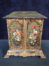 A Regency lacquered papier maché table cabinet,