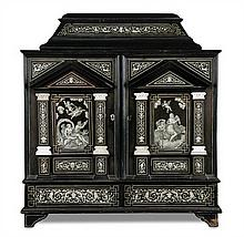 A 19th century South German ebony and ivory inlaid table cabinet, 17th century style