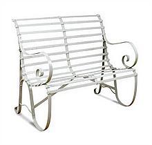 A small Regency wrought ironwork garden seat,
