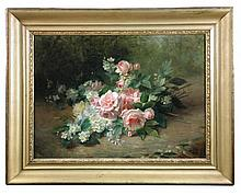 Jules Ferdinand Medard (French, 1855-1925) - Still life of pink roses, narcissi and daisies - signed lower right