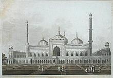 I Hill after Henry Salt (British, 1780-1827)  Mosque at Lucknow, India, 1809    - hand-coloured aquatint