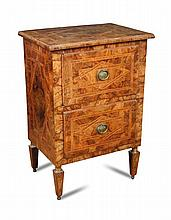 An 18th century Continental walnut parquetry cabinet,