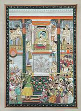 Moghul School (19th Century) - Courtiers greeting a Moghul king - watercolour