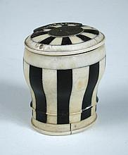 An early 19th century ivory and ebony box,