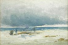 David Cox (British, 1783-1859) Stormy Coastal Scene inscribed lower left