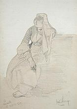 Carl Haag (German, 1820-1915) - Seated Woman, Nazareth, 1859 - inscribed lower left